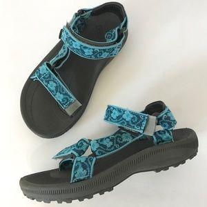 Teva Turquoise and Gray Sandals EUC